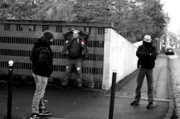 Tourcoing, manifestant encadré par la police lors de la visite de Macron.